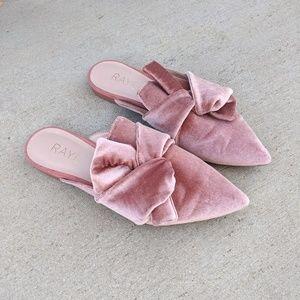 RAYE Lady Slide in Mauve / Pink Velvet Bow Mules